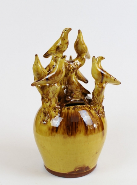 Slipware money box with rooks by Doug Fitch