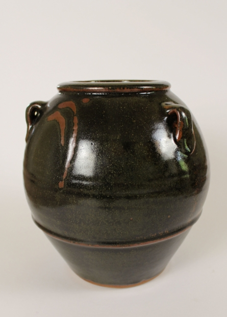 Globular Jar with Lugs, Tenmoku Glaze by Jim Malone