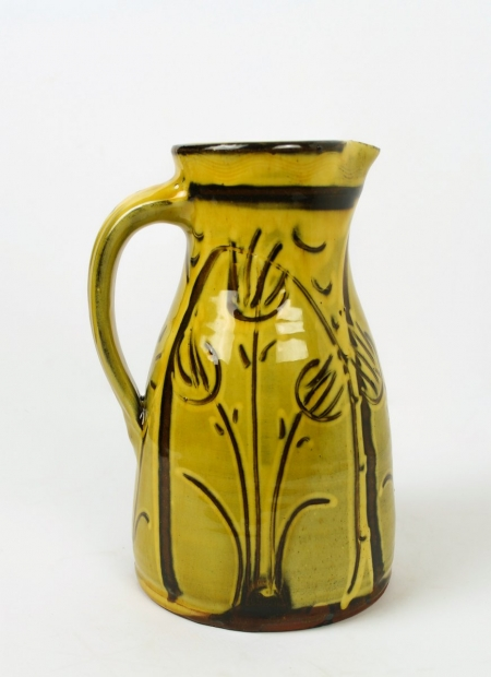 Wet sgraffito tapered jug by Doug Fitch