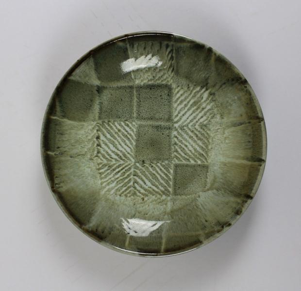 Green chevron square dish by Edward Hughes