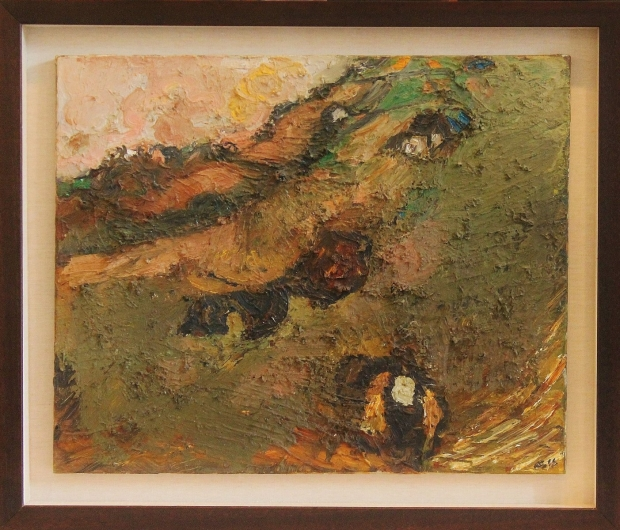 Landscape with man carrying corn by Sheila Fell RA FRSA