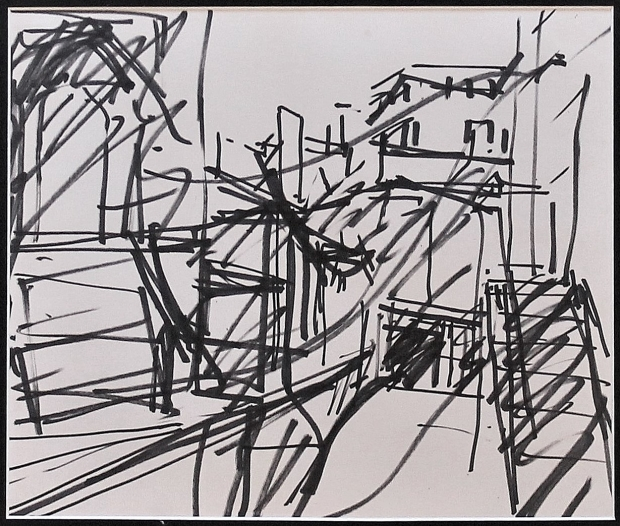 "Study for ""To the studios"" by Frank Auerbach"
