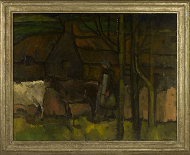 Girl with Cows by Sheila Fell RA FRSA