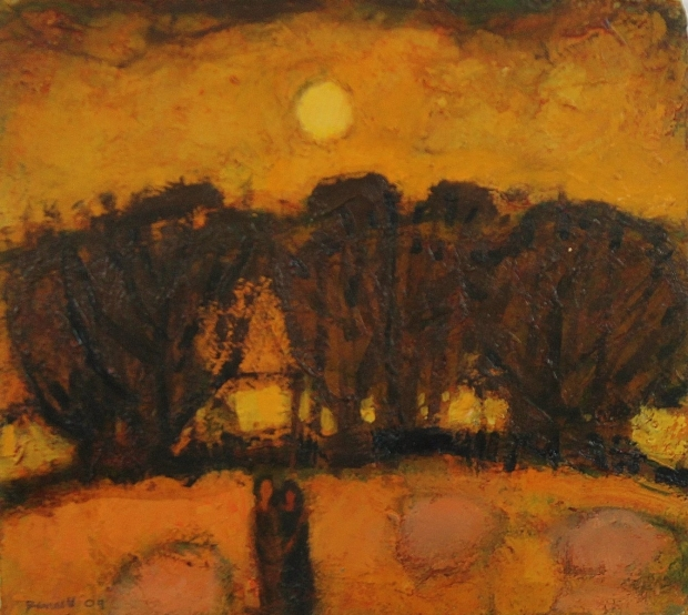 Golden landscape with figures 2009 by Michael Bennett