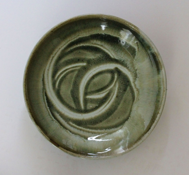 Green swirl dish by Edward Hughes