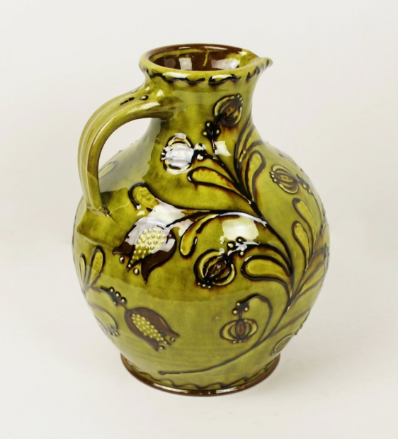 Large green slip-trailed tulip jug by Hannah McAndrew