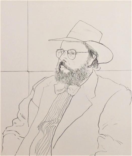 Henry Geldzahler with hat - 1976 by David Hockney RA