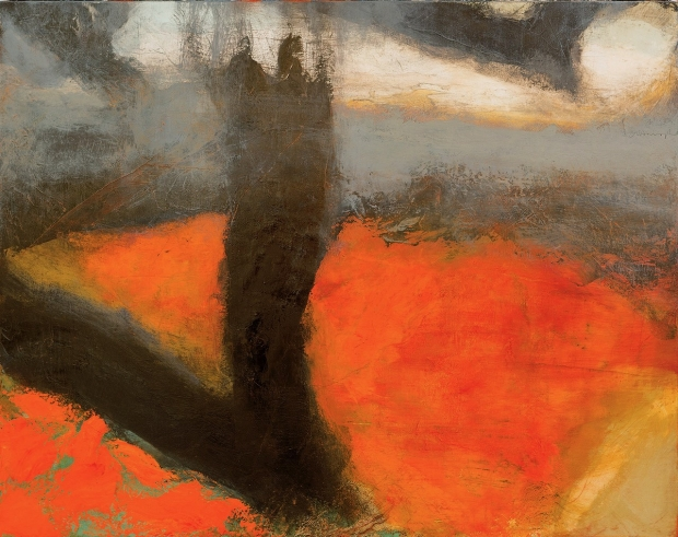 Crows Above a Grain field II, Red Light by Hughie O'Donaghue (RA)