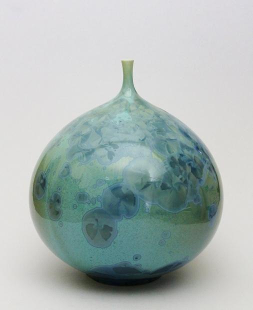 Large Green Crystalline Bottle by John Stroomer