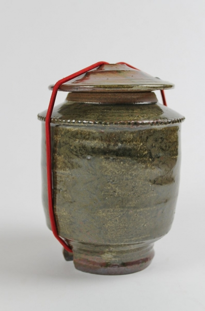 Large lidded caddy with red cord by Tim Lake