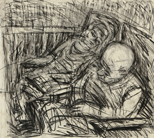 Two seated figures V by Leon Kossoff