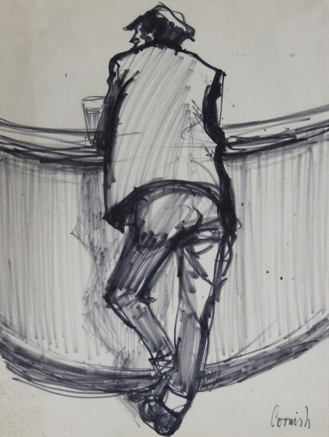 Man leaning at bar by Norman Cornish
