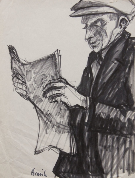 Man reading newspaper ii by Norman Cornish