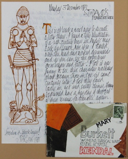 Illustrated Letter and envelope, 3rd December 1973 - To Mary Burkett by Percy Kelly