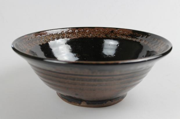 Serving bowl, stamped rim, black by Tim Lake