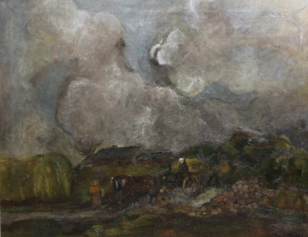 Horse and Cart on a Country Road by Sheila Fell RA FRSA