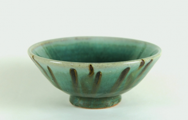 Small green striped bowl  by Edward Hughes