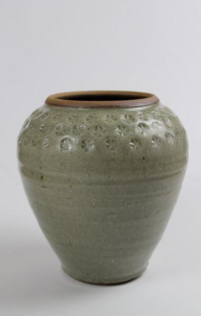 Vase, stamped shoulder, green ash glaze by Tim Lake
