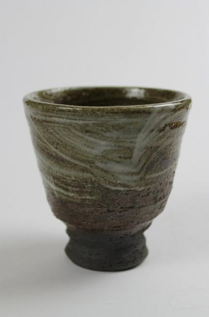 Yunomi, dark, rough tactile, wood fired by Tim Lake